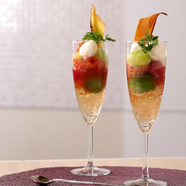 ベジスイーツ:ミニトマトとメロンのグラスデザート