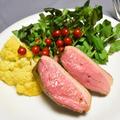 鴨肉の低温調理、ハニーマスタード醤油。簡単調理でお肉柔らかメインディッシュ。