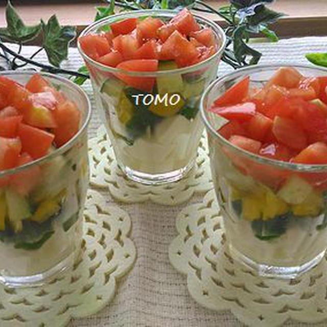 朝ベジレシピ♪トマトとお豆腐のグラスサラダ