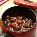 カラフル野菜とパンプキンマッシュの肉巻きビーフシチュー