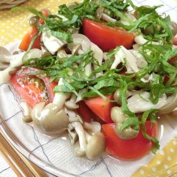 ポリ袋で簡単しみしみ☆ トマトとしめじの白だし浸し