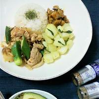 ココナッツレモン風味☆鶏肉とオクラのスパイス炒め
