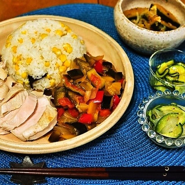おひとり晩ごはん de ストウブ 塩麹鶏のラタトゥイユ添え