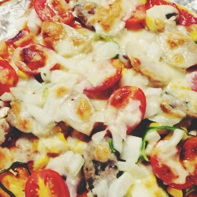 パパ不在!の日の夕飯。手作りピザと2色寒天ゼリー