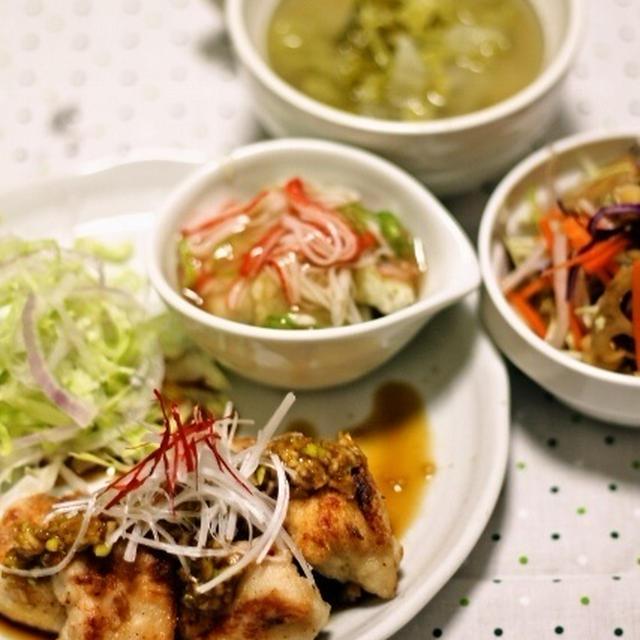 鶏ムネの黒酢ネギソース / デリ風!シャキシャキ蓮根のきんぴらとミックスビーンズサラダ
