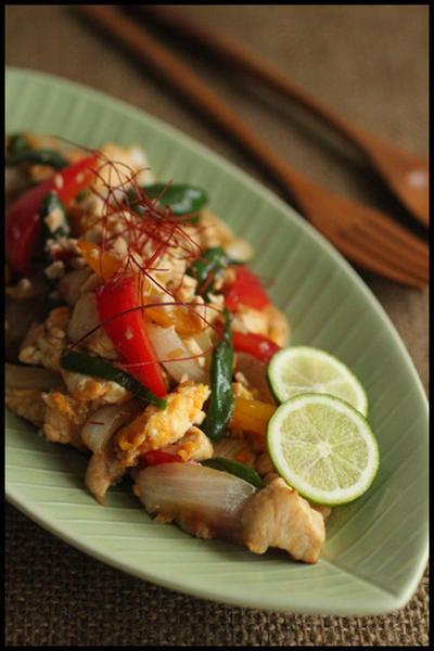簡単ごはんがすすむ系!鶏むね肉でタイ風ショウガ炒め