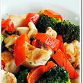 鶏のもも肉とブロッコリー、パプリカの炒め物、バルサミコ風味