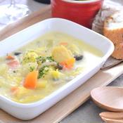白菜と帆立の豆乳チャウダー