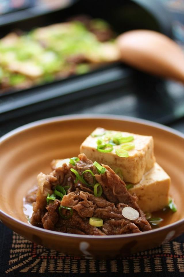 スチームですき焼き風肉豆腐」