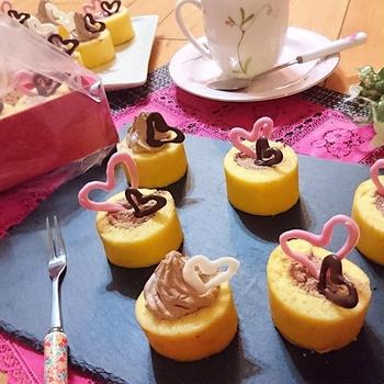 バレンタインデー❤に!HMでお手軽・簡単スイーツ【シナモンチョコミニロールケーキ】&笑い話。