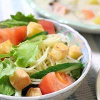 チーズスパサラダと秋鮭のホワイトシチューでうちごはん(レシピ付)とSLうまさぎっしり庄内号