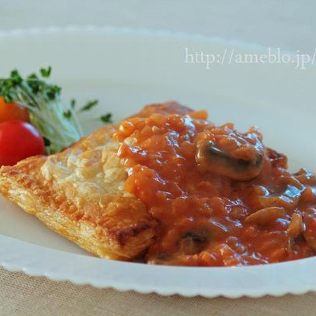 野菜ジュースで ミートパイ・マッシュルームソース