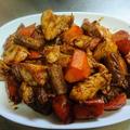 鶏肉とゴボウの赤味噌炒め