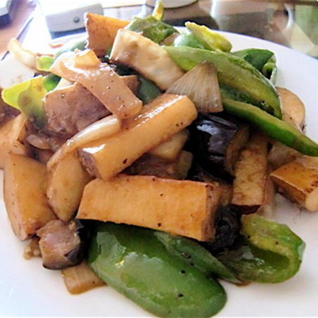 長芋と夏野菜の炒め