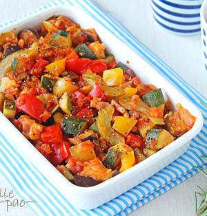 レンジで時短!夏野菜のトマト煮ラタトゥイユ☆作り置きにも