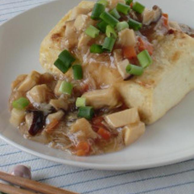 旨味た~っぷり♪お豆腐ステーキのホタテとタケノコの甘酢あんかけ
