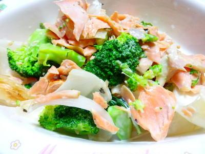 春野菜と鮭のマヨネーズ和え