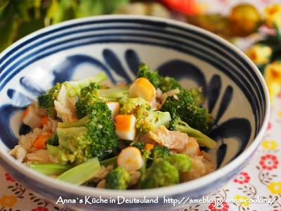 【主菜】辛くないけどちょっと辛い♡(笑)白身魚とブロッコリーの食べるラー油炒め とドイツのお寿司