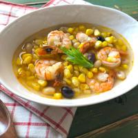 【今の時期おススメスープ】疲労回復に☆とうもろこしとエビのアジアン風食べるスープ♡レシピ