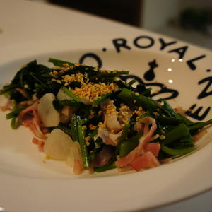 空芯菜とベーコンの炒め物 ダブルガーリック風味