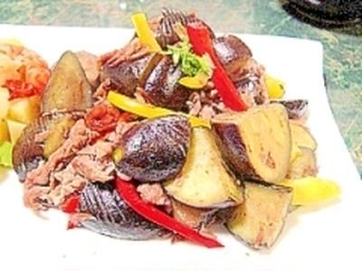 ナスと豚肉のライム風味のエスニック炒め
