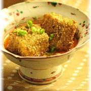 おかか胡麻豆腐の チリソース。 と 献立。