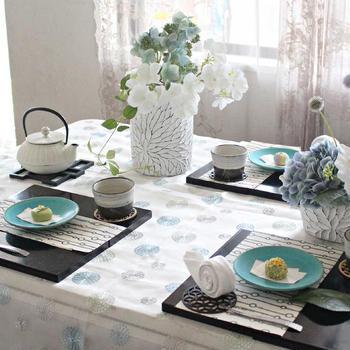 紫陽花を楽しむテーブルコーディネート