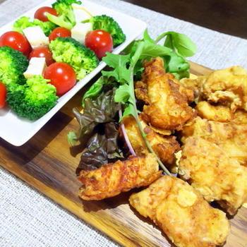 スティック唐揚げと、温野菜サラダ ~クリスマス2020