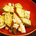 赤オクラと山芋のナムル風、しめじとししとうの炙り和え、枝豆、鰈の干物で夏を惜しむ手酌酒