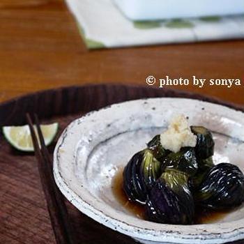 ◆茶せん小茄子の揚げ浸。