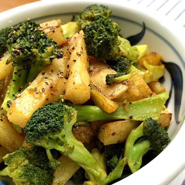 スパイスで減塩!長芋とブロッコリーの簡単カレー風味の炒め物♪【スパイス大使】
