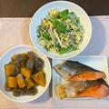 たまごとじゃこと水菜のサラダ♪ 鮭の塩焼き♪