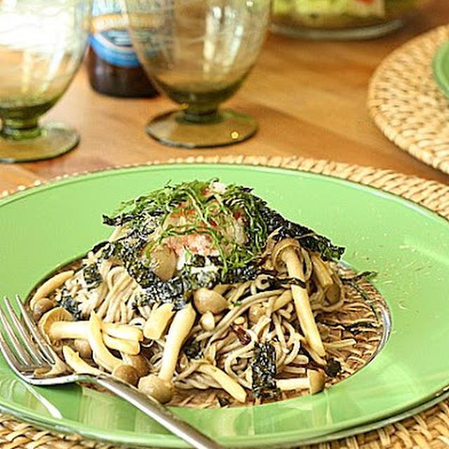 梅・大葉おろし盛り、きのこ&塩昆布で蕎麦ペペロンチーノ