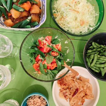 夏野菜多め夕食