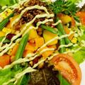 【朝ご飯です♪】春色栄養満点サラダ(アボガドマヨソース)/鮭とジャコのおにぎり他