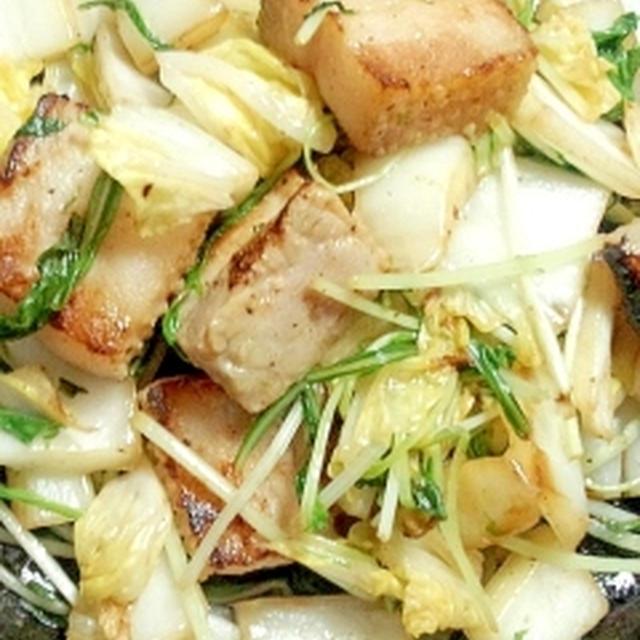 豚バラブロックの塩糀野菜炒め