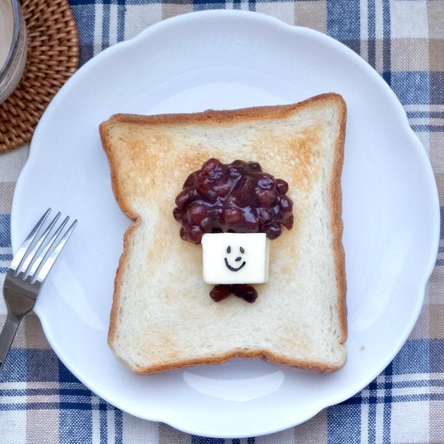 名古屋喫茶店風♡あんバタートースト#食パンアレンジ#朝ごはん#モーニング