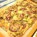 【主菜】ピザより簡単!ドイツ料理のフラムクーヘンの作り方♡バジルとオイルサーディンと紫玉ねぎ♡