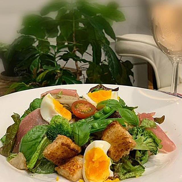 山形生食パン焼いてトーストと野菜たっぷりのサラダ「パンツァネッラ」