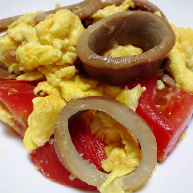 イカ缶とトマトの卵炒め<缶詰の煮汁でカンタンに>