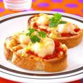 小海老のバゲットピッツア♪自家製トマトソースを使って by みぃさん