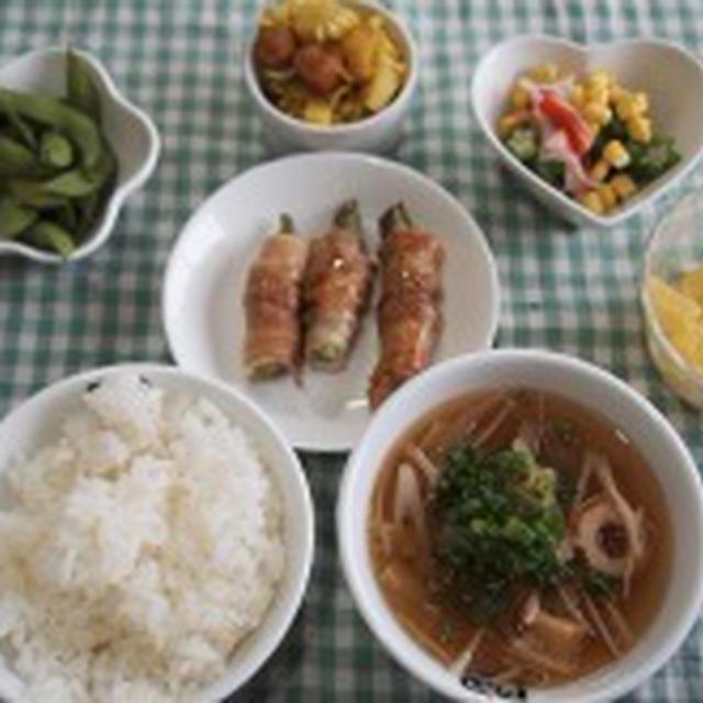 ☆今日の夕飯 オクラといんげんの肉巻き バタポン味など☆