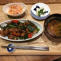 【献立】豚肉・ニンニクの芽・ニラ・パプリカの甘辛炒め丼、人参の胡麻マヨ和え、カブの即席お漬物、野菜具沢山スープ