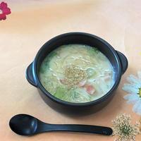豆乳味噌のベーコンレタススープ