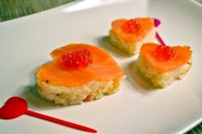 【ハートのサーモン押し寿司】バレンタインやパーティーに