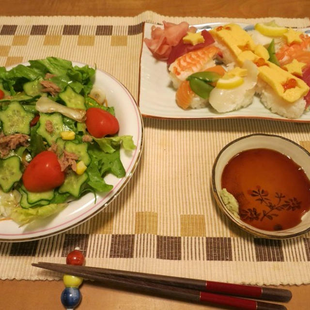 七夕サラダうどん&七夕寿司の夜ご飯 と ヨウスケ&ラッキー♪