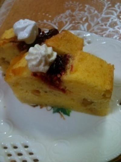 米粉のラズベリーパウンドケーキ♪と海老だんご