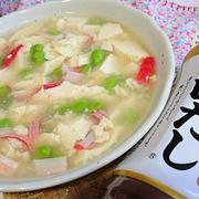 白だしで簡単☆枝豆とくずし豆腐のさっと煮。