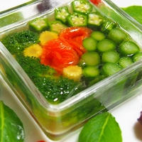 夫さんお誕生日のプチパーティー  スモークサーモンと野菜のゼリー寄せ(一見テリーヌ風)