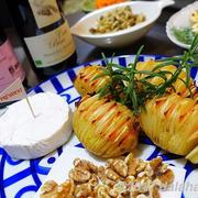 【レシピ】北欧ハッセルバックポテトと豚のバルサミコソテーでボジョレーを楽しむ
